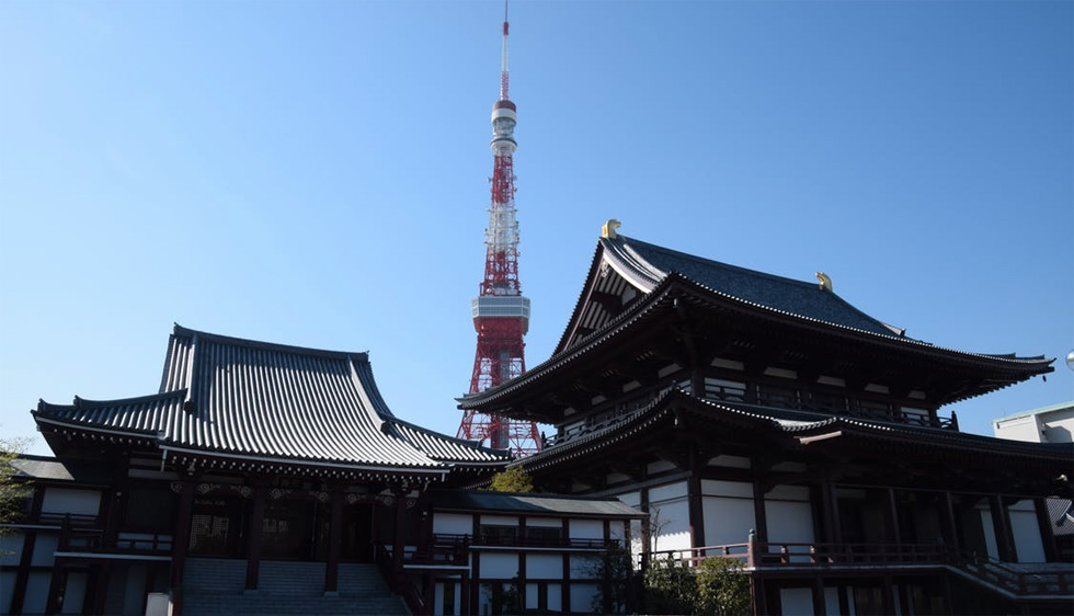 Tokyo Tower, the second tallest structure ( 332.9 meters) in Japan after Tokyo Skytree, which is nearly twice as tall, viewed from Zojoji Temple. The Temple was moved to its current location in central Tokyo by Ieyasu Tokugawa in 1598. Photograph: Red Circle Authors Limited.