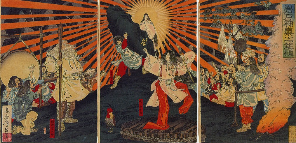An image of the Japanese Sun Goddess Amaterasu emerging from a cave. Signed: 'Shunsai Toshimasa' from the Origin of Music and Dance at the Rock Door (1887). Image: Wikipedia.