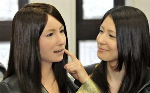 Geminoid-F Robot designed by the Intelligent Robotics Laboratory at Osaka University and robot builders Kokoro Co. Ltd.